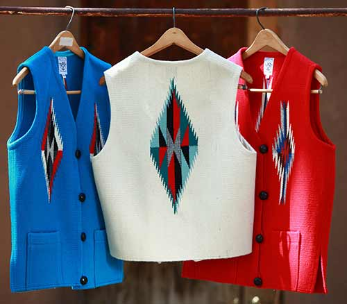 3 vests: red, blue and white