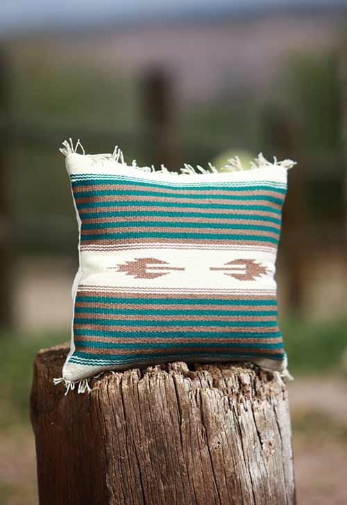 white and green pillow
